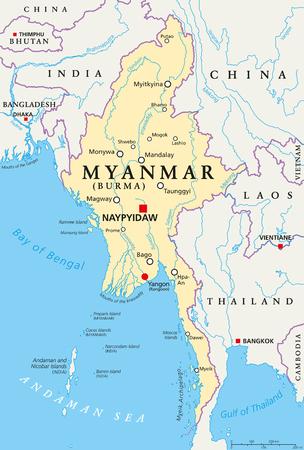 미얀마 정치지도에는 수도 나이 피도 (Naypyidaw), 국경, 중요 도시, 강 및 호수가 있습니다. 버마와 옛 수도 인 랑군, 양곤이라고도 불린다. 영어 레이블.