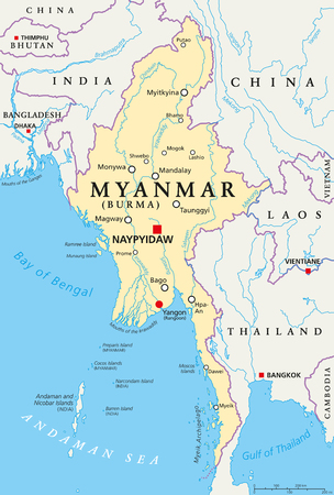 Myanmar political map with capital Naypyidaw, national borders, important cities, rivers and lakes. Also called Burma and old capital Rangoon, Yangon. English labeling. Illustration. Vettoriali