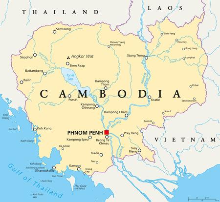 Cambodia political map.