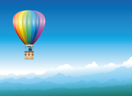 Captive balloon peacefully drifting through a misty blue mountain landscape.