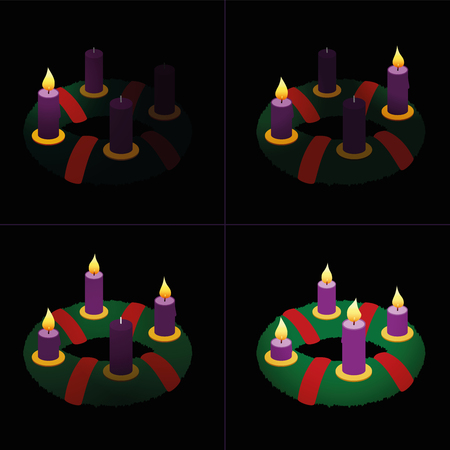 Advent wreath purple candles vector illustration.