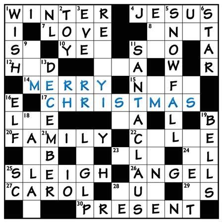 Christmas crossword cloud puzzle with typical words like winter, sleigh, angel, snowfall, Santa Claus, december, bell, toy, present, wish, Jesus, love and MERRY CHRISTMAS in the middle.