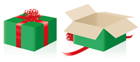 Gift package - closed, wrapped pack and opened christmas present - three-dimensional isolated vector illustration on white background.