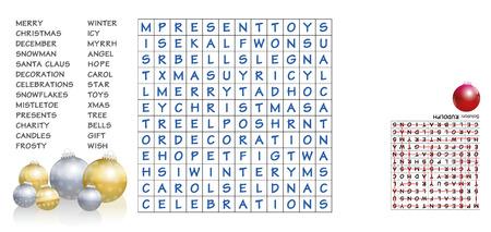 크리스마스 낱말 맞추기 - 퍼즐에 나열된 단어를 찾아서 밖으로 나눕니다. 8 개의 남은 편지는 크리스마스 주위에 중요한 인물을 설명 할 것입니다 - 해