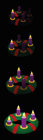 Advent wreath with one, two, three, four burning candles in chronological order on first, second, third and fourth Sunday of Advent.