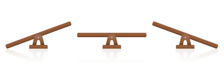 Schommel- of houten weegschaalset van drie items - gebalanceerd en onevenwichtig, gelijk en ongelijkmatig zwaar.