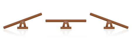 Seesaw or wooden balance scale set of three items - balanced and unbalanced, equal and unequal weightiness.