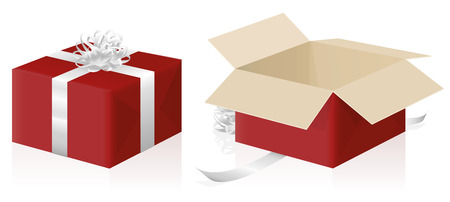 Gift package, wrapped and unwrapped red parcel, closed and opened present carton box - 3d isolated vector illustration on white background.