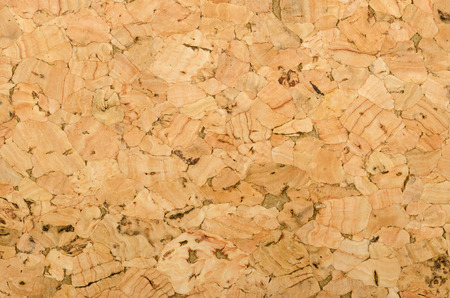 Cork sheet surface with coarse texture, comprised of rough grained cork oak, Quercus suber. Decorative panels and veneers, used as bulletin boards, floor and wall tiles. Top view. Macro photo.