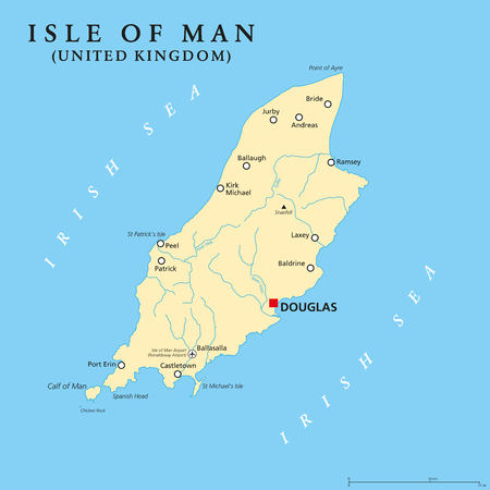 Isle of Man political map with capital Douglas and important cities. Also known as Mann, a self governing Crown dependency in the Irish Sea and a tax haven. English labeling. Illustration. Vector. 向量圖像