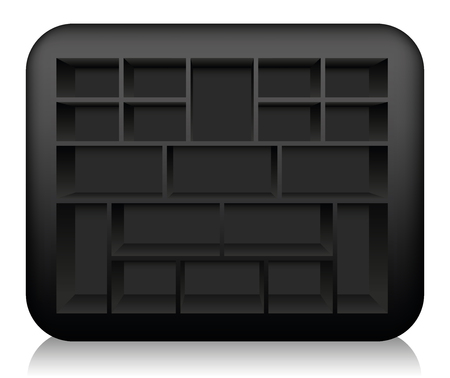 Empty black type case with rounded edges, to be filled - isolated vector illustration on white background.