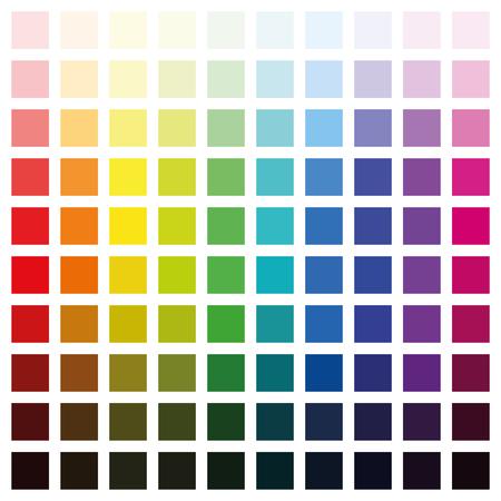 Kolor spektrum wykresu z sto różnych kolorów w różnych nasycenia od światła do ciemności - format kwadratowy wektor ilustracja na białym tle. Ilustracje wektorowe