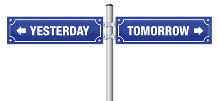 YESTERDAY and TOMORROW, written on two blue signposts - symbol for history, evolution, progress, development and change - isolated vector illustration over white background.