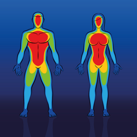 Body warmth thermogram of male and female body - infrared thermography of a couple with cooler blue areas at edge regions like hands and feet and the much warmer red torso.