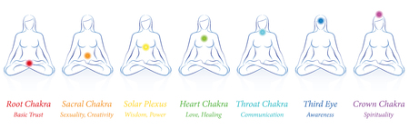 Meditating women in sitting yoga position vector illustration