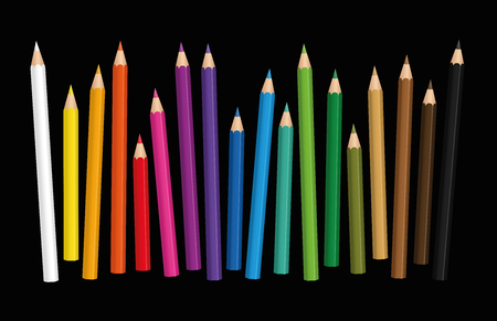 Crayons - loosely arranged colorful set of pencils in different lengths with wood textured tips, upright standing in a row - vector illustration on black background. Illustration