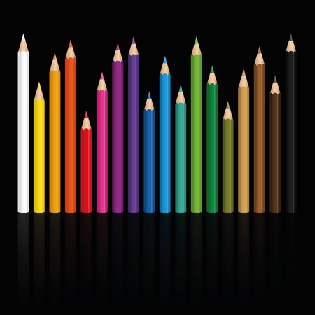 Crayons - colorful set of pencils in different lengths with wood textured tips, upright standing in a row like a city skyline at night - vector illustration on black background.