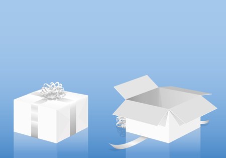 White gift package on blue background - closed, wrapped pack and opened present - three-dimensional isolated vector illustration.