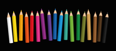 Short crayons - small colored baby pencil collection loosely arranged - isolated vector illustration on black background. Illustration
