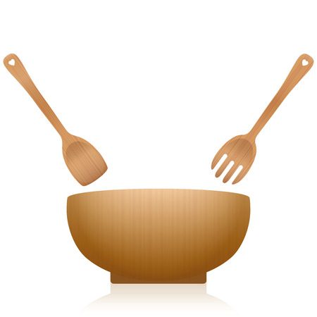 Salad servers and bowl - wooden set with blanked out hearts on the handles. Vector illustration on white background.