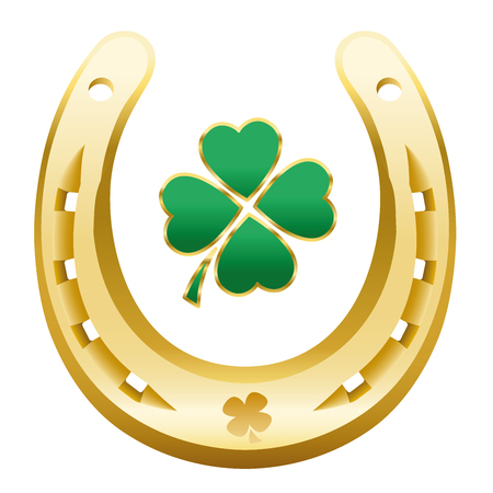 HAPPY NEW YEAR symbol - four leaf clover and golden horseshoe correctly with the open side up to attain happiness, success, wealth, fortune, health, prosperity and luck next year. Ilustração