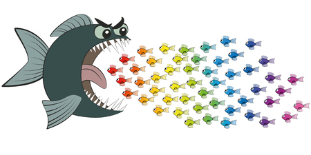 Big fish eating many colorful little fish, imprudent and careless as if in hypnotic trance - symbolic for gullible, naive, thoughtless, credulous or deluded, misled and deceived people - comic.