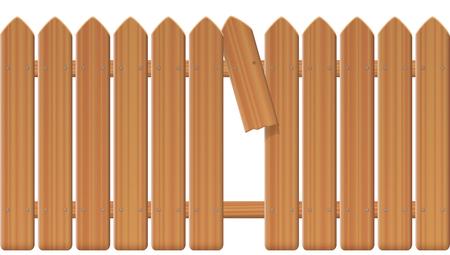 Lacune dans la clôture, palissade texturée en bois avec planche et fracture cassées et échappatoire pour se faufiler, échapper, fuir, décoller, se libérer, se faufiler, s'éloigner de l'illustration vectorielle isolée sur fond blanc.