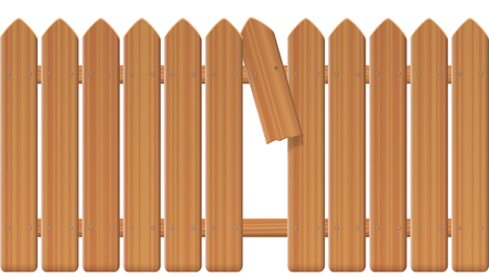 Gap in the fence, wooden textured picket fence with broken plank and loophole to slip through, escape, flee, take off, break free, slip away, sidle off isolated vector illustration on white background.