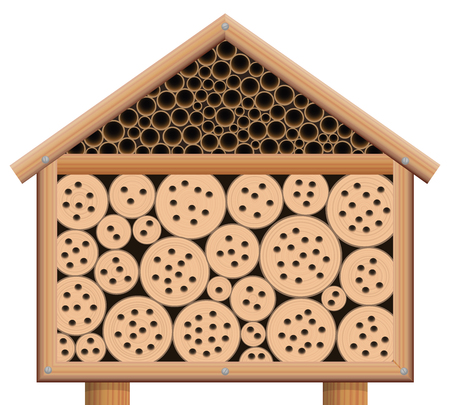 Insect hotel, wooden bug house with roof, isolated vector illustration on white background. Vettoriali