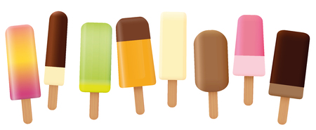 Ice lolly collection - loosely arranged set of eight tasty fruit and chocolate ice cream on stick with different shapes and flavors - isolated vector illustration on white background.
