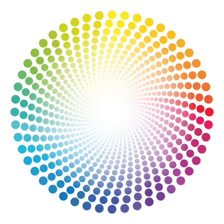 Spiral dots tube pattern - rainbow colored twisted circle illustration with white shining glowing center. 일러스트