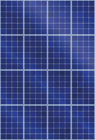 Solar panel background pattern - thermal collector with light reflection of sun beams - illustration of photovoltaic technology - seamless expandable in all directions, vertical orientation.