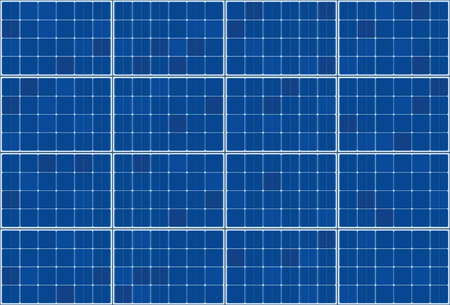 Solar thermal collector - flat plate system - vector illustration of photovoltaic technology - blue background pattern, horizontal orientation. Çizim