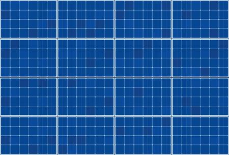 Zonnecollector - vlak plaatsysteem - vectorillustratie van fotovoltaïsche technologie - blauw achtergrondpatroon, horizontale oriëntatie.