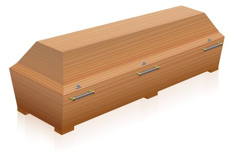 Coffin - massive, solid, light brown wooden casket - three-dimensional isolated vector illustration on white background.