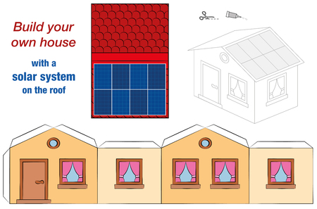 House template with solar panel collectors on the roof - photovoltaic technology cottage model - cut out, fold and glue - cut-out sheet for promotion of ecological education. Çizim