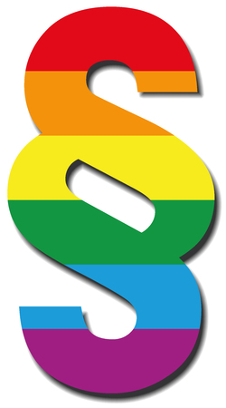 Gay paragraph sign - LGBT symbol for law, legislation, justice and rights concerning homosexual life - vector icon illustration.