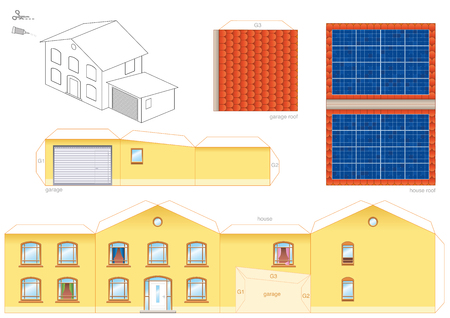 Paper craft model of a house with solar thermal collector on the roof, photo voltaic technology cut-out sheet for making a scale model house and for promotion of ecological education. Illustration