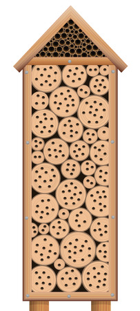 Bug house - wooden insect hotel tower with roof - isolated vector illustration on white background. Illustration