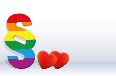 Gay rights - symbolized by a rainbow pride colored paragraph and to hearts, concerning homosexual life. Illustration