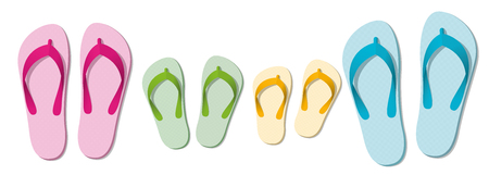Flip flop family, set of sandals for parents and children, beach holiday fun at summer isolated vector illustration on white background.