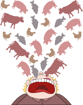 Meat consumption symbolic comic illustration of a man who eats beef, pork, chicken and fish unhealthy diet instead of vegetarian or vegan nutrition. Vectores