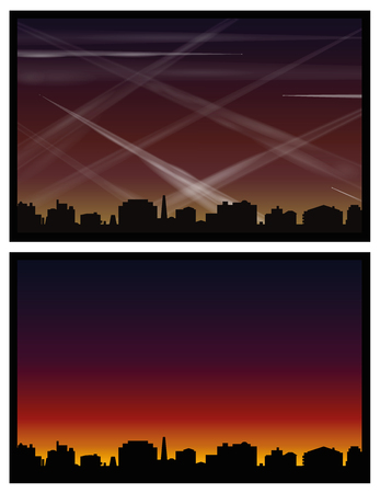Contrails - air and light pollution caused by many condensation trails of airplanes - one picture with polluted atmosphere, the other with beautiful morning or evening mood. Illustration