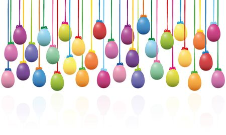 Hanging easter eggs - colorful isolated background vector illustration on white background with reflection beneath.