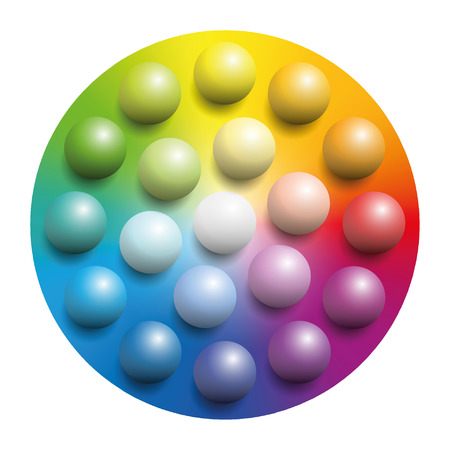 Color spectrum with many colored marbles - many balls placed upon a rainbow colored circle of the same colors. Illustration over white background. Illustration