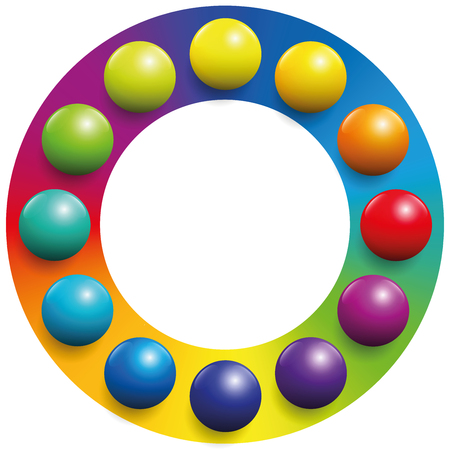 Color spectrum - twelve balls placed upon the respective complementary colors of a rainbow colored circle to increase their contrast. Illustration over white background. Illustration