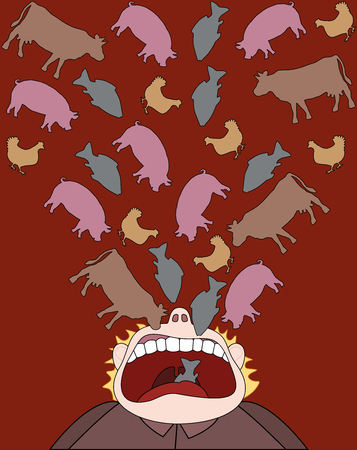 Eating meat - beef, pork, chicken and fish consumption - symbolic comic illustration of a man who eats animals instead of healthy vegetables, fruits and cereal products.