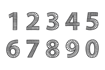 Free hand drawn numbers from one to zero. Illustration