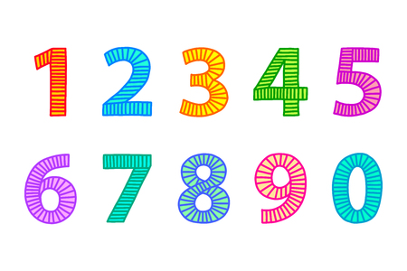 Multi colored freehand drawn numbers from one to zero. Outlines with lines in even distances, filled out with coordinated bright colors. Illustration