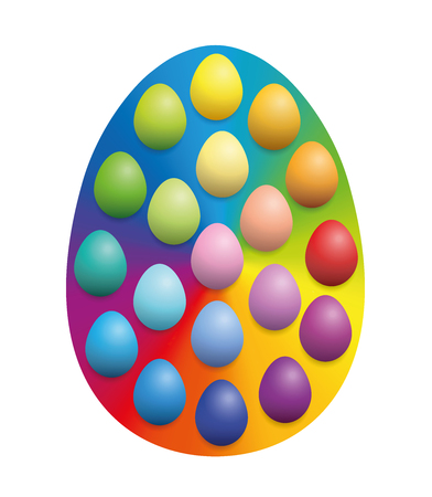 Easter eggs spread over a big rainbow colored easter egg background to increase their color intensity. Illustration over white background.